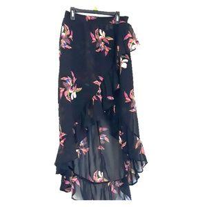 Black & Flower Print High-low skirt